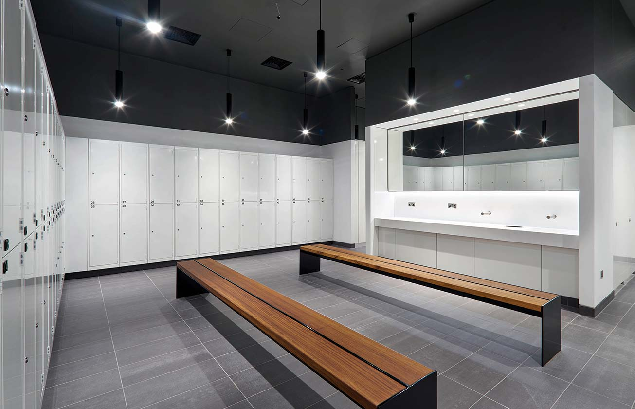 Locker room at 2 London Wall Place.