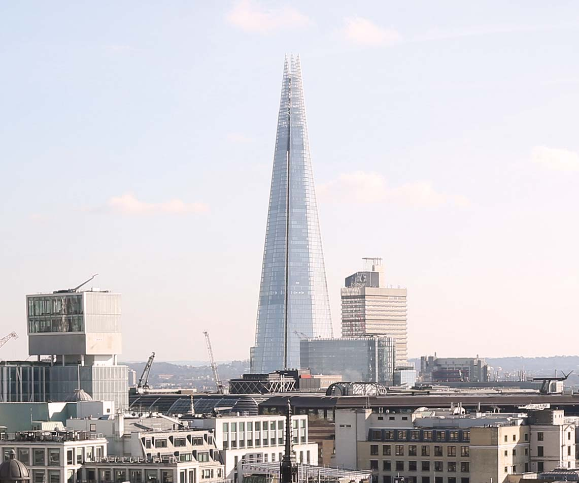 View of London skyline with the Shard.